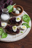 Beetroot relish and a sandwich with beets, quail egg and spinach on rustic light wooden board. Royalty Free Stock Photography