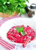 Beetroot risotto with parmesan cheese Royalty Free Stock Photography