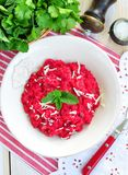 Beetroot risotto with parmesan cheese Royalty Free Stock Photos