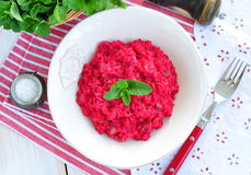 Beetroot risotto with parmesan cheese Stock Photography