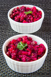 Beetroot salad. In white ceramic bowls Royalty Free Stock Photography