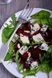 Beetroot salad with blue cheese. In plate Royalty Free Stock Photos