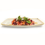 Beetroot salad on blue plate. Stock Photography