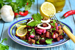 Beetroot salad with calamari and rye garlic croutons. Royalty Free Stock Photos