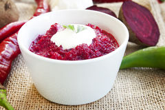Beetroot salad with cream Stock Photography