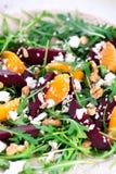 Beetroot salad with feta cheese and mandarins Stock Photos