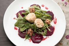 Beetroot salad with goat cheese Royalty Free Stock Image