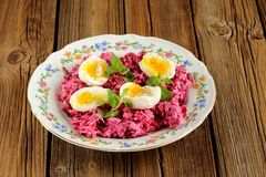 Beetroot salad with mint and boiled eggs Stock Images
