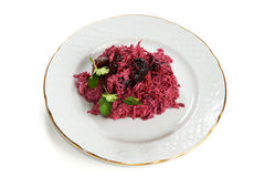 Beetroot salad with prunes and mayonnaise isolated Stock Photography