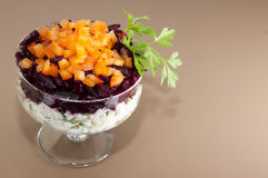 Beetroot salad. With rice and peppers Royalty Free Stock Photography