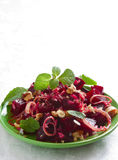 Beetroot salad with walnut ,onion and mint Stock Image