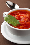 Beetroot soup. Borscht, russian beetroot soup with bay leaf Royalty Free Stock Photography