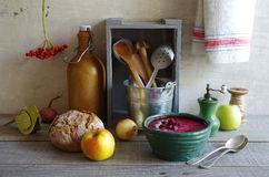 Beetroot soup with apple and cream Royalty Free Stock Images