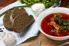 Beetroot soup, borscht. Ukrainian on russian beetroot soup borscht on napkin on wooden background Stock Image