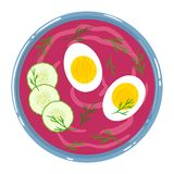 Beetroot soup in a bowl with sour cream, egg, cucumber and dill, isolated. Top view. Vector hand drawn illustration. Chilled beetroot soup in a bowl with sour stock illustration