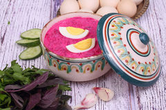 Beetroot soup - cold soup with a beet and egg submitted with gre Stock Photos
