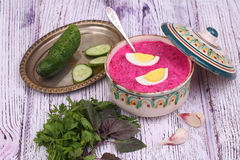 Beetroot soup - cold soup with a beet and egg submitted with gre Stock Photography