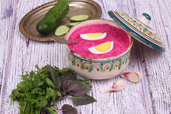 Beetroot soup - cold soup with a beet and egg submitted with gre Stock Images