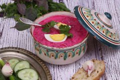 Beetroot soup - cold soup with a beet and egg submitted to a sou Stock Images