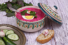Beetroot soup - cold soup with a beet and egg submitted to a sou Royalty Free Stock Image