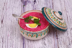 Beetroot soup - cold soup with a beet and egg submitted to a sou Stock Photos