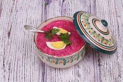 Beetroot soup - cold soup with a beet and egg submitted to a sou Stock Image