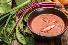 Beetroot soup with egg and vegetables in a bowl Stock Photo