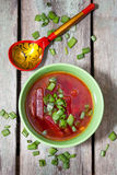 Beetroot soup with green onions Royalty Free Stock Image