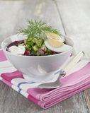 Beetroot soup with nettle, cucumber and potatoes Stock Image