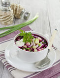 Beetroot soup with squid, cucumber and apple Stock Images