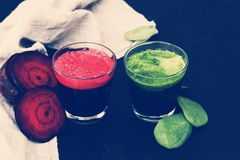 Beetroot and spinach drink Royalty Free Stock Image