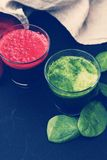 Beetroot and spinach drink Royalty Free Stock Photos