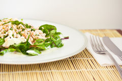Beetroot spinach and prawns, healthy salad. Salad with prawns, healthy eating Stock Images