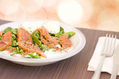 Beetroot spinach and salmon healthy salad. Salad with salmon, healthy eating Stock Photo
