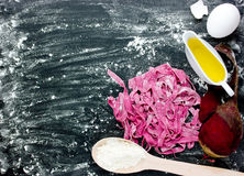Beetroot tagliatelle - fresh homemade beet pasta dough Royalty Free Stock Image