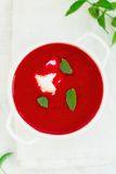 Beetroot  and tomato creamy  diet soup Royalty Free Stock Photography