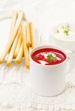 Beetroot  and tomato creamy  diet soup Stock Photography