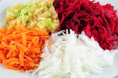 Beetroot, turnip, apple and carrot salad. Salad from shredded beetroot, turnip, carrots and apple - closeup view Royalty Free Stock Photography