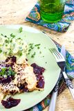 Beetroot Vegetable with cheese and coconut crust on herb potato Royalty Free Stock Photo