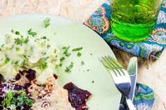 Beetroot Vegetable with cheese and coconut crust on herb potato Royalty Free Stock Image