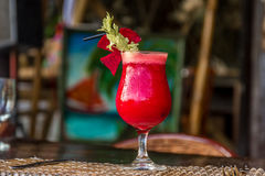 Beetroot vegetable cocktail in outdoor restaurant Stock Photography