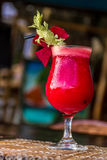 Beetroot vegetable cocktail in outdoor restaurant Stock Images