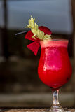 Beetroot vegetable cocktail in outdoor restaurant Royalty Free Stock Photos