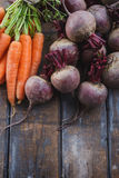 Beetroots And Carrots. Bunch of fresh organic beetroots and carrots Royalty Free Stock Image
