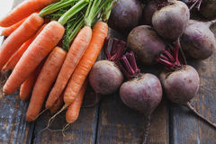 Beetroots And Carrots. Bunch of fresh organic beetroots and carrots Royalty Free Stock Photography