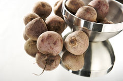 Beets. Beet, beetroot, beets on a mirror and white background stock photo