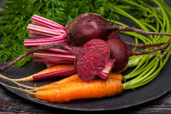 Beets and carrots Stock Photos