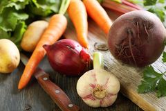 Beets, garlic and knife. Royalty Free Stock Image