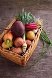 Beets, onions, garlic, dill, potatoes, carrots on an old wooden background. Vegetables in a basket: beets, onions, garlic, dill, potatoes, carrots on an old Stock Image
