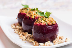 Beets stuffed with rice stock photo